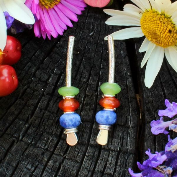 Multi-coloured arc silver earrings, oil jade, carnelian, lapis 6A